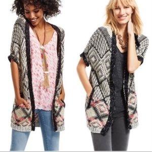 Cabi Provence Aztec Short Sleeve Sweater Cardigan